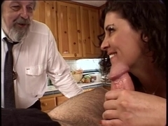 Lewd spouse watches his wife receive her cum-hole fingered and licked in the kitchen