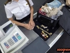 Cute stewardess needs money and visits a dirty pawn shop