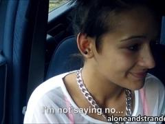 Stranded teen Vanessa Rodriguez roadside fucking and cumshot