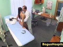 Beautiful nurse fucked on desk by doctor