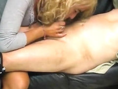 Shaggy haired mother i'd like to fuck strokes his strapon nicely
