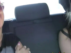 Girlfriends Fit babes eat pussy on back seat of a car