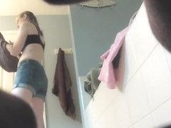 Geeky sister spied nude in bathroom