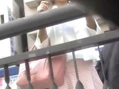 Hot babe got skirt sharked in the public traffic street