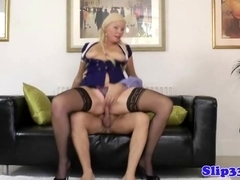 Blonde amateur plowed by old mans pole