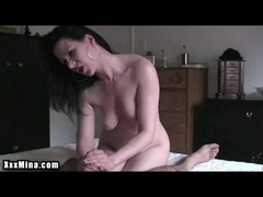 Sexy hot lady masturbates a big dick and drinks a warm cum from it