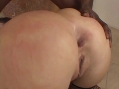 Giant darksome strapon in the arse for this knob engulfing anal doxy in nylons