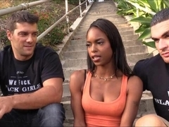 Sexy ebony Marie Luv anal fucked with two white dudes