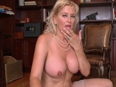 Old and horny MILF fucks with a real hard cock