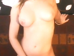 Delightful golden-haired busty playgirl posing