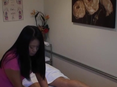 Busty asian masseuse tugging and pounding