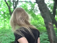 Young amazing Mila sucking big dick outdoor