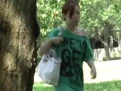 Asian woman has her panties stolen by a skirt shark