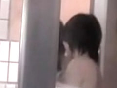 Wet bodied Asian girls all naked in the public shower room