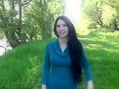 German Non-Professional Appealing Darkened-Hair Outdoor Fucking POV