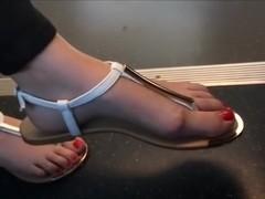 candid blonde feet on train 13