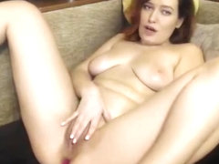 Brunette milf plays in front of the camera