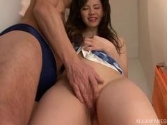 Adorable asian babe enjoying threesome hardcore