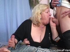Golden-Haired grandma receives slammed by 2 weenies