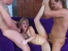 Sexy blonde gets fucked hard by two guyss