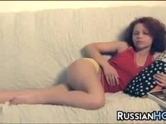 Hairy Russian Girl Masturbating