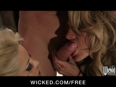 Couple of tattooed goth cuties share one studded dong in threes
