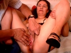 Hairy chubby mom gets her cunt fondled and fucked hard