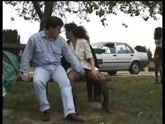 Vintage clip of Babes enjoying flashing public sex