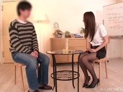 Julia naughty Asian milf is a horny teacher with a dildo