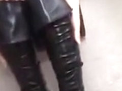 girl wearing black sexy boots