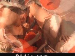 Nasty russian girl gets old dicks for Christmas