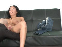 Big boobed brunette girl Anissa Kate in sexy pink panties masturbating her pussy!