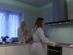 Girlfriends Lesbians have hot kitchen sex