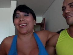 Sandra - brunette Latina milf with extreme boobies and dangerous plump ass