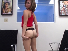 Sweet brunette Paige Riley enjoys in stirpping and teasing