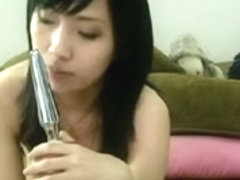 Sasa plays with her large oriental mounds and snatch