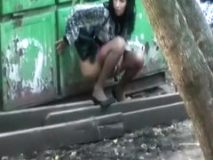 Brunette big piss outdoors