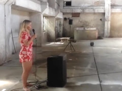 Hot and voluptuous blonde runs around the building naked