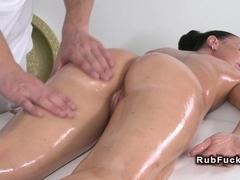 Masseur fucks big booty brunette on a massage table