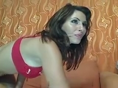 Perfect busty brunette masturbates