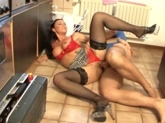 Curvaceous brunette MILF drilled hard and deep