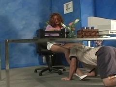 secretary in white heels