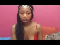 Long-haired Ebony shows off her pussy and toy on webcam
