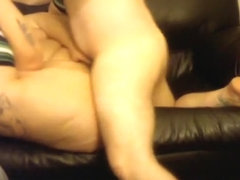 Fat white wife getting fucked on couch