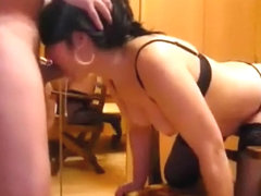 Exibitionistic babe fucks in front of the cam and a mirror