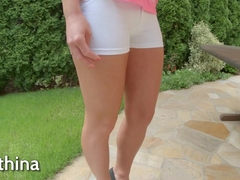 GiveMePink The shy Athina pleasures her tight pussy with a variety of toys. She says hearing her o.