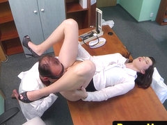 Uniformed babe pussylicked and drilled