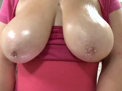 Nerdy slut Mishy plays with her colossal knockers
