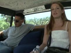 Fellow wants to fuck petite girl Rebecca in bus