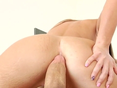 Luscious Lizz Tayler rides her pussy on a hard cock